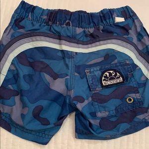 Boys Navy Army print swim trunk